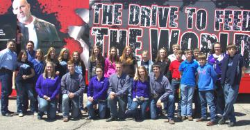 "Platte Valley H.S. ""FFA"" Class poses with Agfinity at the ""Drive to Feed"" Event"